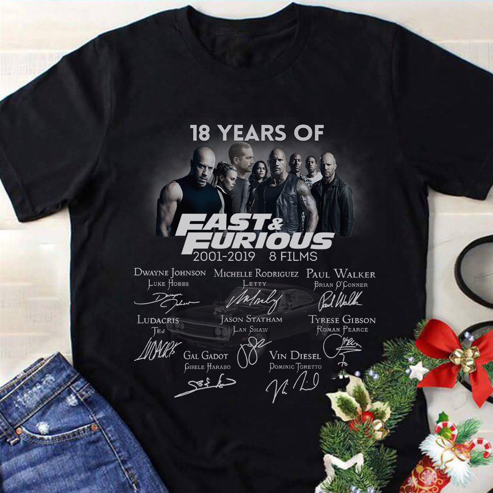 18 Years Of Fast And Furious 2001 2019 Signature Shirt