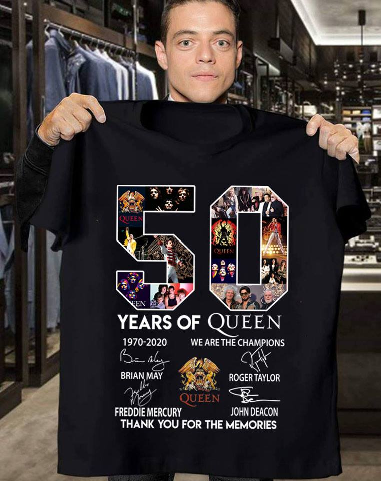 50 Years of Queen 1970 – 2020 We Are The Champions Signature T-shirt