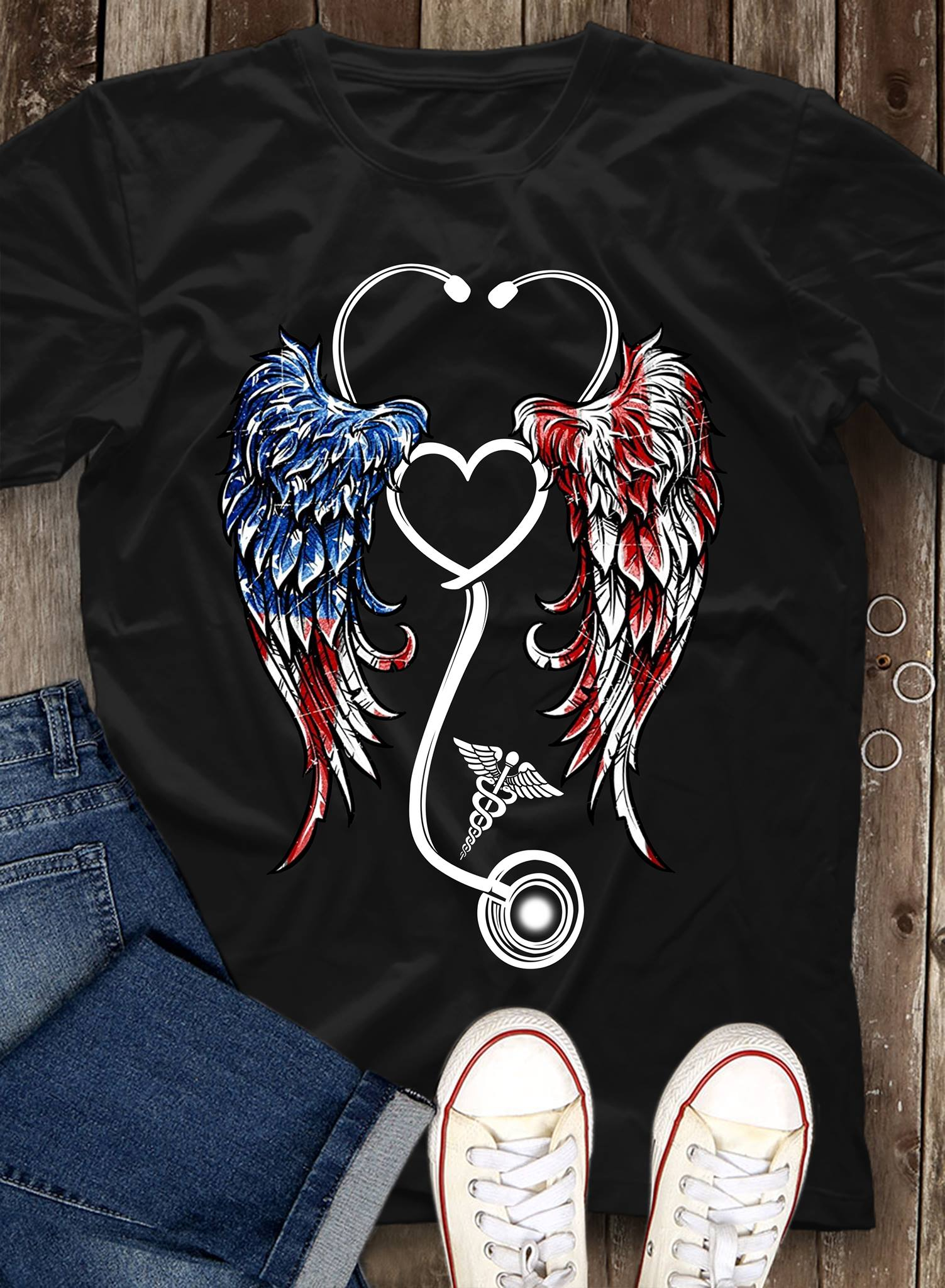 American USA Flag Angel Wings Nurse shirt