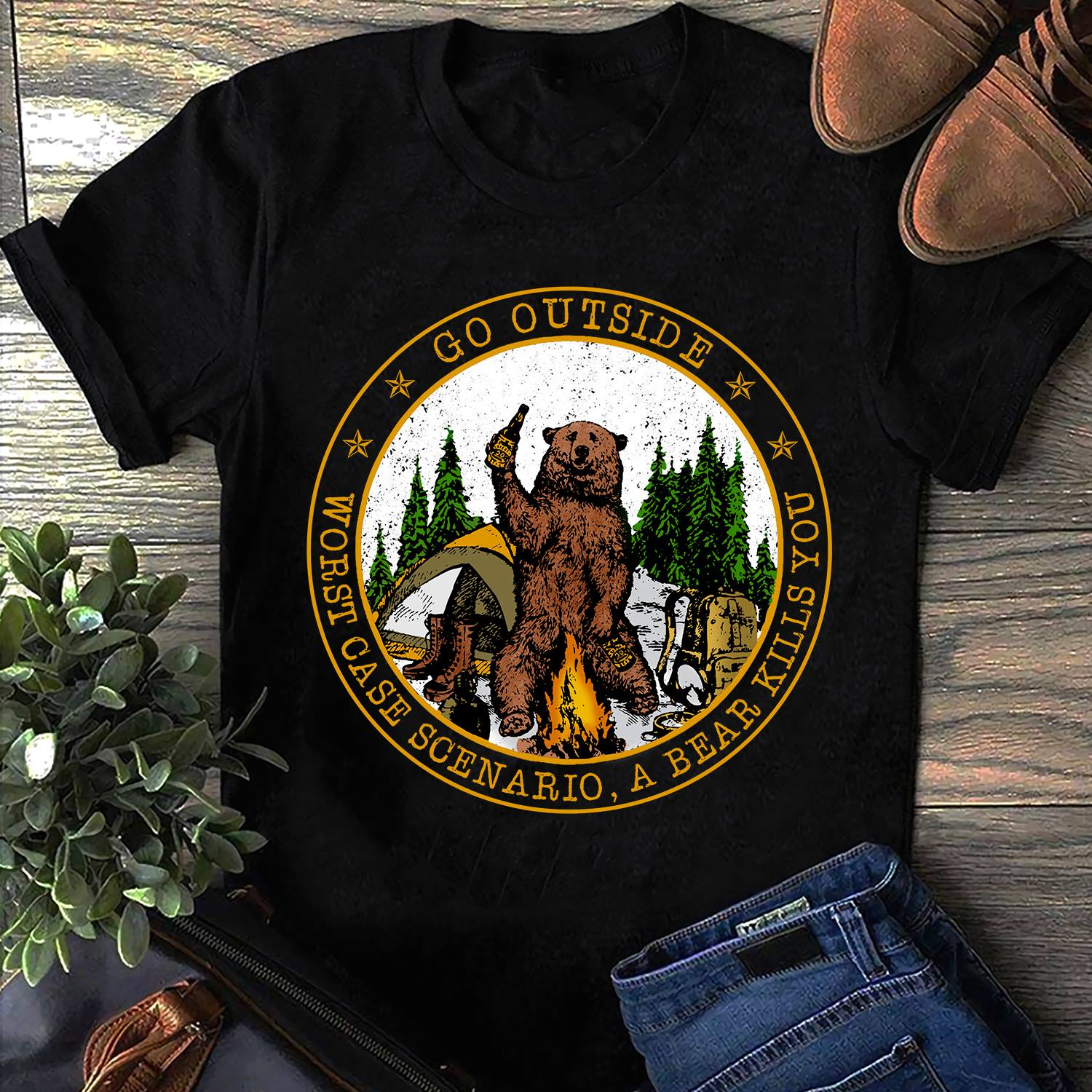 Bear Beer Go Outside Worst Case Scenario A Bear Kills You Shirt