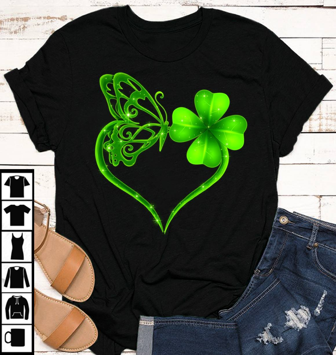 Butterfly And 4 Leaf Clover Shirt