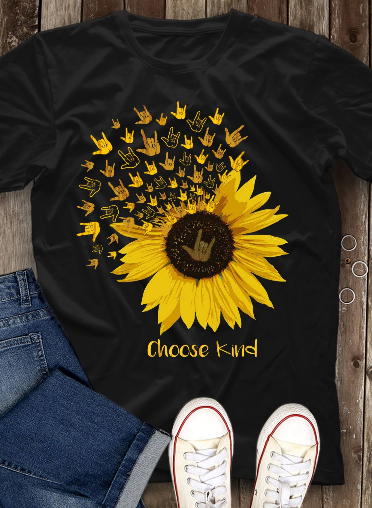 Choose Kind Sign Language Sunflower Shirt