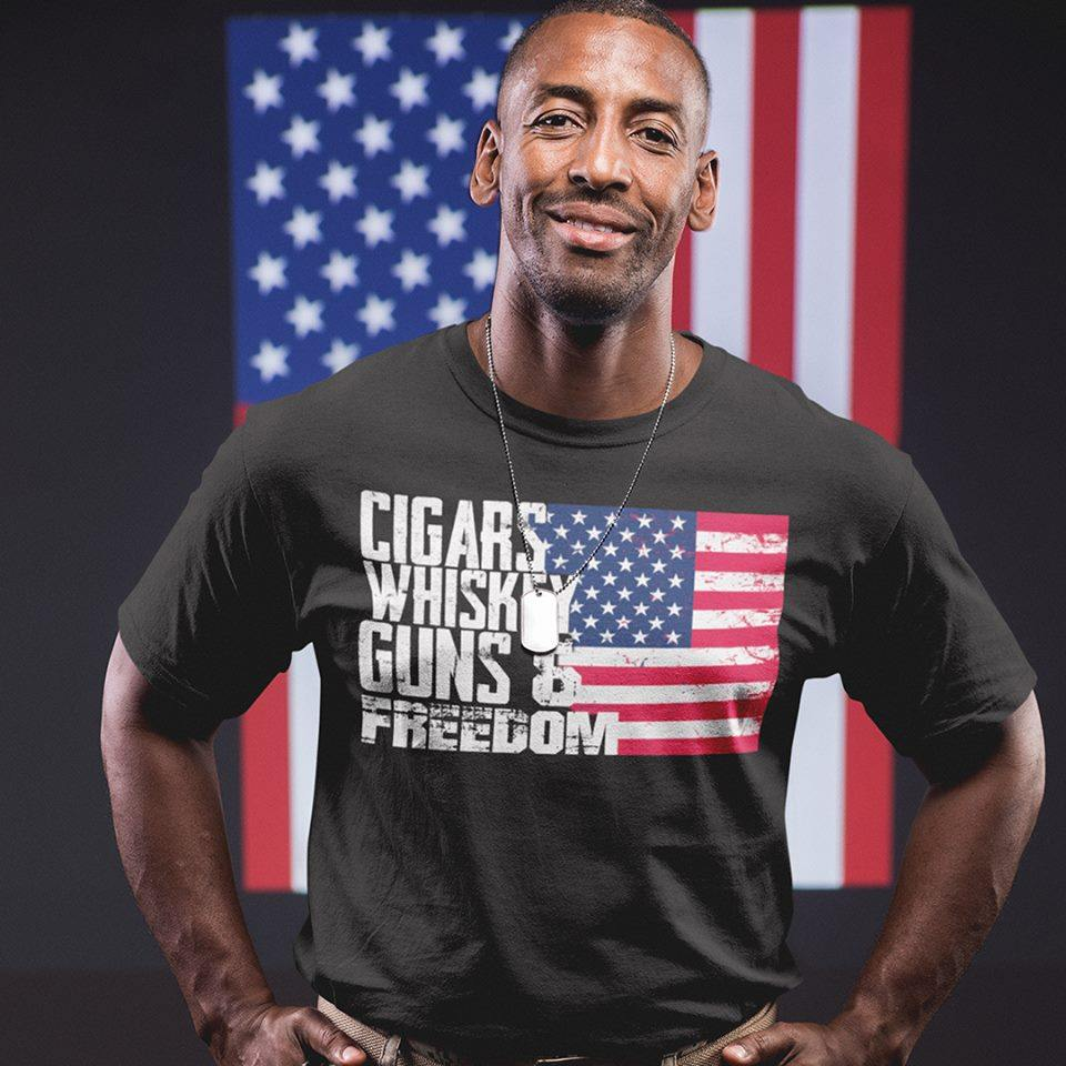Cigars Whiskey Guns Freedom American Flag Shirt