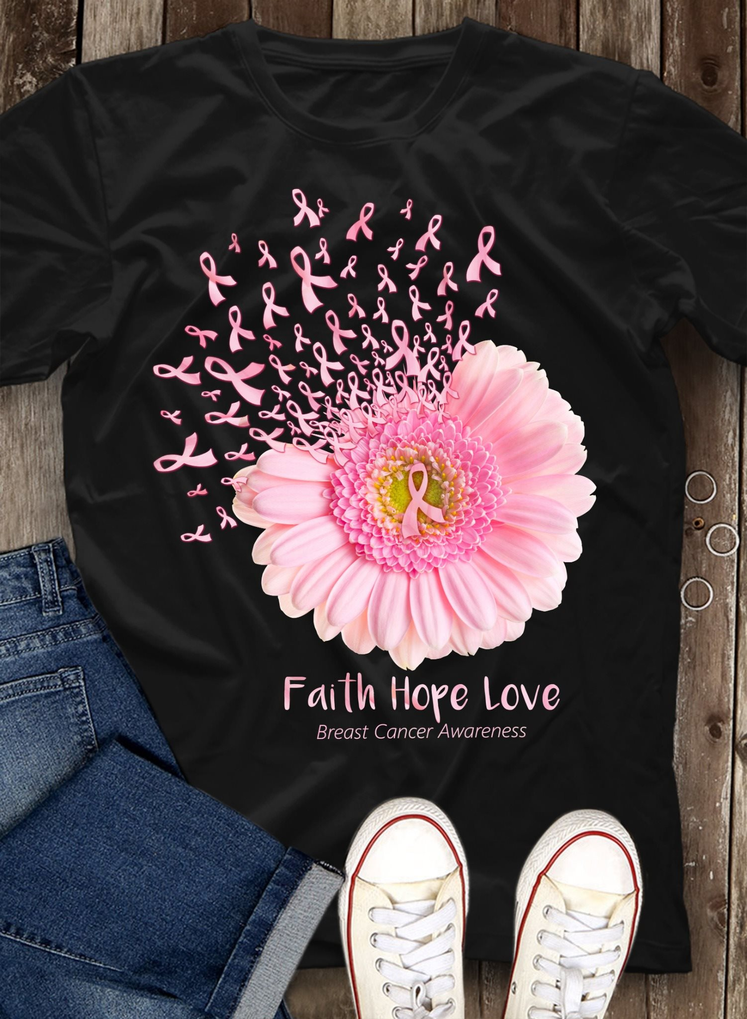 Daisy Flower Faith Hope Love Breast Cancer Awareness Shirt
