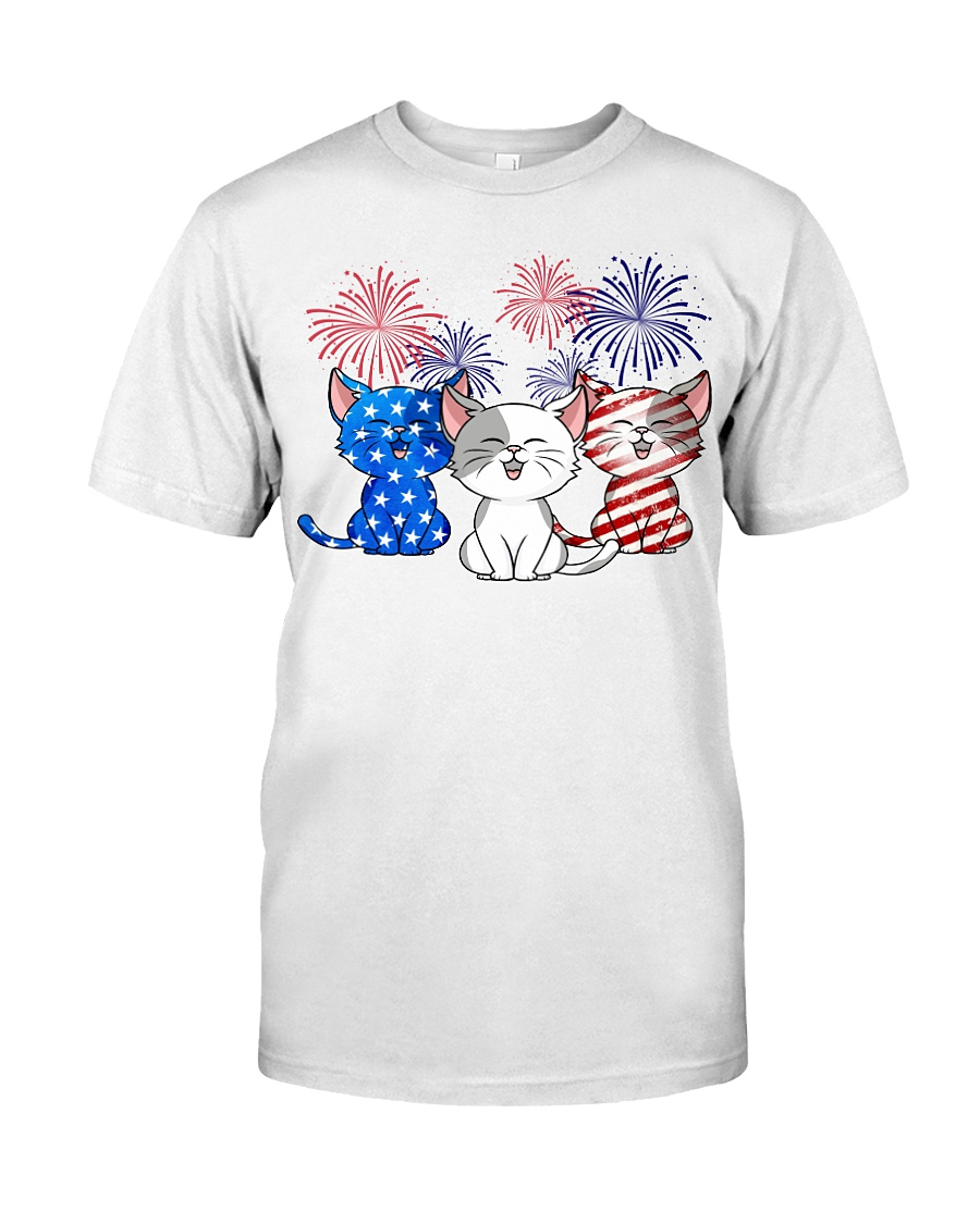 Fireworks Grumpy Cats Red White And Blue American Flag Shirt