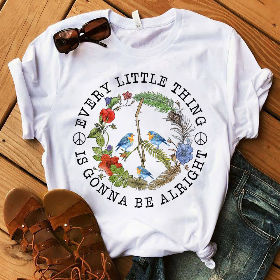 Hippie Birds Every Little Thing is Gonna Be Alright Shirt