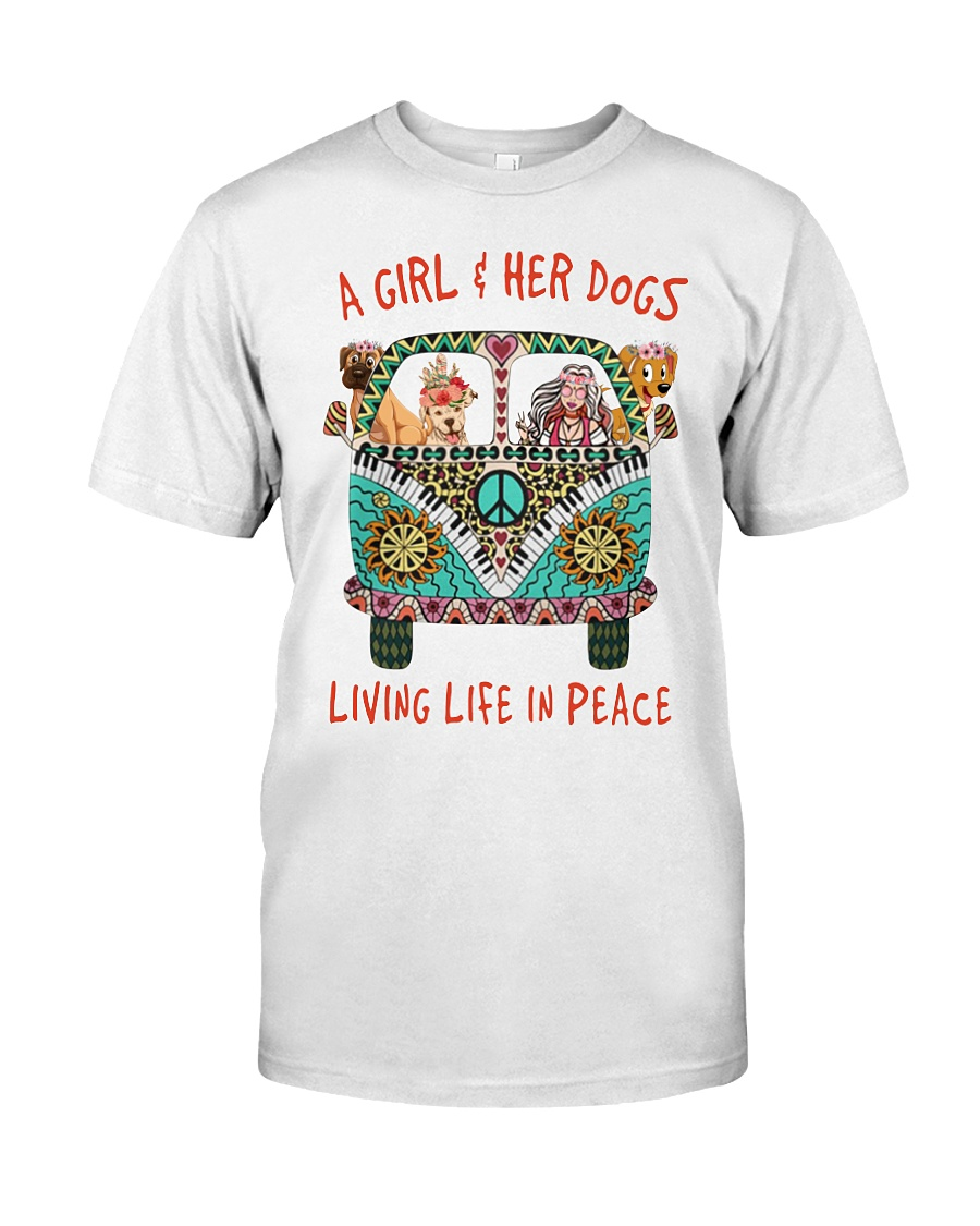 Hippie Car A Girl and Her Dog Living Life in Peace Shirt