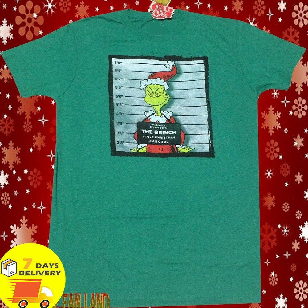 Dr Seuss The Grinch Christmas Wanted Poster Mens Vintage TShirt, Christmas Shirt